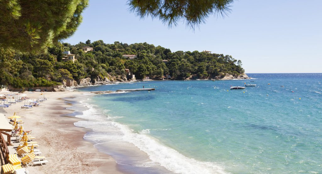 """""""The idyllic bay and beach at Le Rayol in the Var district of Provence on the French Riviera. As beautiful as this beach is, it has a history in that it was one of the two beaches in the south where Allied troops landed in 1944 in liberating France."""""""